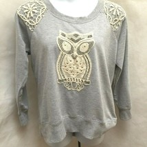 Cato 18/20W Sweatshirt Top Gray White Crochet Lace Owl Studded Plus Size... - $21.55