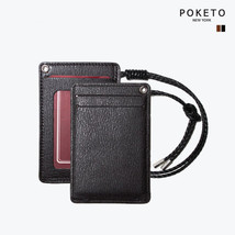 [POKETO]  Basic Cowhide Card Wallet Necklace Detachable Couple ID Card W... - $33.85