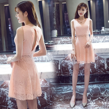 PF266 sexy elegant floral Lace dress w keyhole back, Size S-XL, pink - $18.80