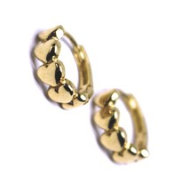 18K ROSE GOLD ROUND SMALL CIRCLE HOOP HEARTS ROW EARRINGS DIAMETER 12mm x 4mm image 1