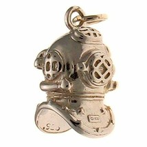 Sterling 925 Solid Silver Charm Pendant Deep Sea Diver Navy Mark V Helme... - $29.40