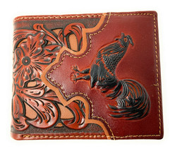 Western Men's Leather Rooster Floral Tooled Laser Cut Lone Star Short Wa... - $25.99