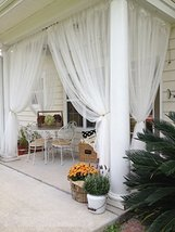 """2 Panels Sheer Lace Curtains 110""""x98"""" each Great Indoor Outdoor Porch Wedding Wh - $16.99"""