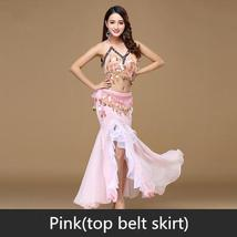 9 Colors Professional Belly Dancer Sequin Beaded Outfits Bra Belt Skirt image 4
