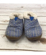 Toms Slippers House Shoes Faux Fur Shearling Blue Grey Tribal Youth Kids 10 - $23.84