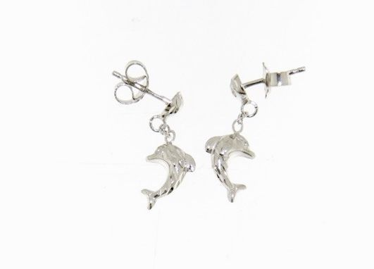 18K WHITE GOLD EARRINGS WITH VERY SHINY DOLPHIN WORKED MADE IN ITALY 0.51 INCHES