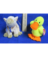 Ty Beanie Babies Stuffed Animals Quackers Duck 1994 & Knuckles Pig 1999 - $12.86