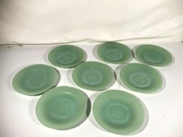 Fire King Oven Ware Mid Century Modern Jadeite Saucer Lot Made In USA - $89.09