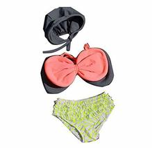 Lovely Bowknot Bikini with Cap for Girls Bathing Wear, 3-6 Years Old, 100-120CM