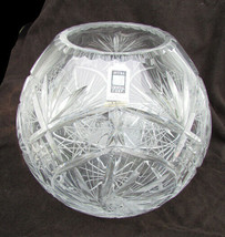"""Avita very large rose bowl 24% crystal 9"""" tall hand cut with sticker new - $42.50"""