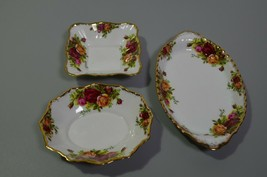 Royal Albert Old Country Roses Candy Serving Dishes Lot of 3 Original Ba... - $38.52