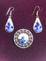 Vintage Sterling Delft Brooch & Earrings  - $59.00