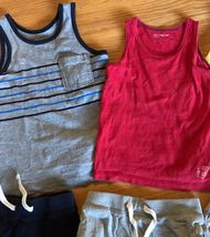 BABY GAP Tank Top + Knit Pull On Shorts Lot of 6 - Summer Outfits Blue Gray Red image 4