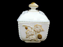 Westmoreland Beaded Square Puff Box w/ Lid Paneled Grape Milk Glass Gold... - $19.31
