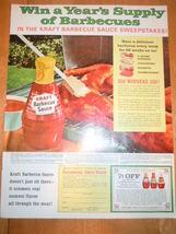 Vintage Kraft Barbecues Sauce Print Magazine Advertisement 1965 - $5.99