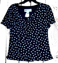 Sz 10 - NWT Sag Harbor Black & White Polka Dot Cowneck Top - $24.24