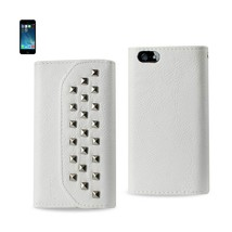 REIKO IPHONE SE/ 5S/ 5 STUDS WALLET CASE IN WHITE - $8.35