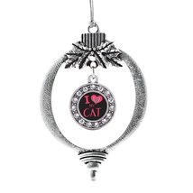 Inspired Silver I Love My Cat Circle Holiday Decoration Christmas Tree Ornament - $14.69