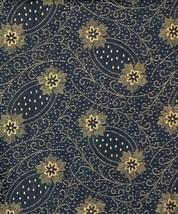 "Midnight Blue Tan Swirl Flower Floral Fabric 11.5"" x 21.5"" Sewing Crafts - $9.85"