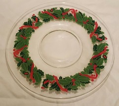 AVON 1981 Holiday Hostess Collection Glass Holiday Platter Holly And Ber... - $9.49