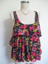 Urban Outfitters Pins and Needles Tank Top S Tiered Ruffle Soft Rayon Knit Zip image 2