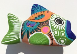 colorful terra cotta fish open mouth brightly hand painted pottery Amalf... - $8.89