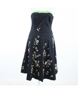 Black green floral print cotton blend ANTHROPOLOGIE ELEVENSES A-line dre... - $54.99