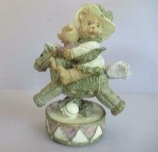 Band Designs Oatmeal Collection mother bear  cub on rocking horse wobble... - $27.39