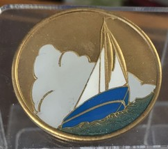 Sailboat Recovery Medallion Chip Coin AA NA Color Blue White Sober Sobriety - $17.99