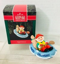 1992 Rapid Delivery Hallmark Christmas Tree Ornament Box w Price tag  - $9.41