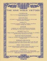 NINE NOBLE VIRTUES Parchment-Like Page for Book of Shadows, Altar! - $1.95
