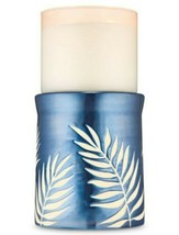 Bath & Body Works Blue Ceramic Palm Fronds Pedestal 3 Wick Candle Holder Stand - $26.17