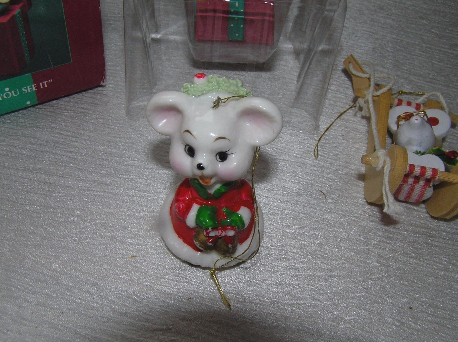 Lot of 3 Painted Wood & Porcelain Enesco Plastic Merry Miss Merry Pop-Up Christ