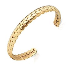 Lolalet Wide Open Cuff Bracelet, 18K Gold Plated Wheat Style Couples Love - $20.31