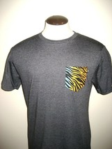 Vans Shoes Mens Tiger Print Pocket SS Tee shirt Grey Black Orange Ships Free NWT - $17.59