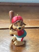 Hallmark Signed Brown Puppy Dog with Baseball Bat Resin Christmas Tree Ornament  - $8.59