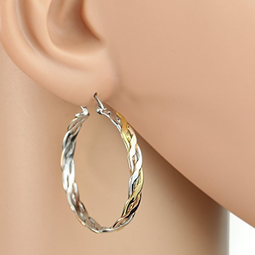 Inter-Woven Tri-Color Silver, Gold & Rose Tone Hoop Earrings- United Elegance