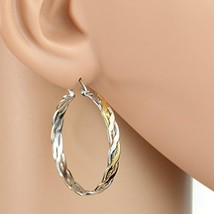 Inter-Woven Tri-Color Silver, Gold & Rose Tone Hoop Earrings- United Elegance - $16.99