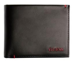 Guess Men's Premium Leather Double Billfold Credit Card Wallet Black 31GU13X030