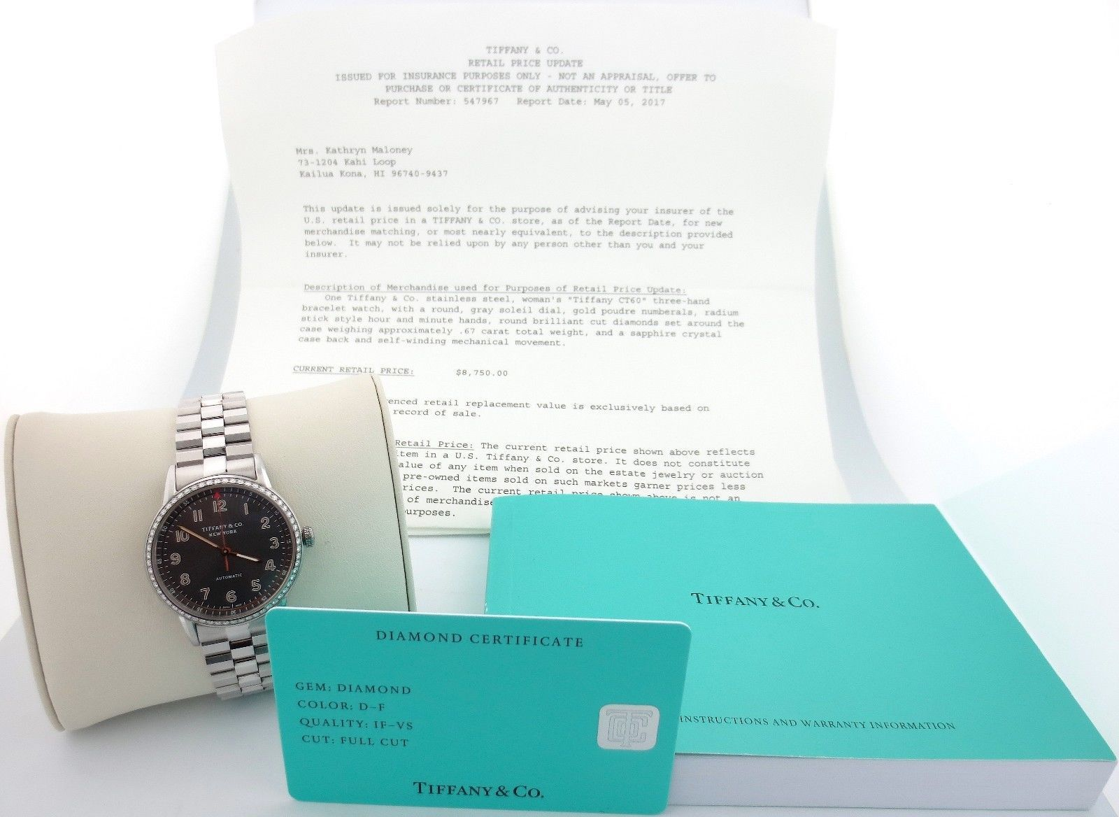 c7c07f908a Tiffany & Co. CT60 Stainless Steel Diamonds Gray Soleil Dial with Box &  Papers