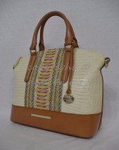 NWT Brahmin Duxbury Satchel/Shoulder Bag in Yellow Canyon - Cream/Brown - $269.00