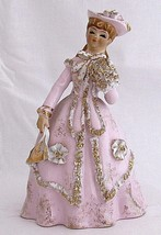 Vintage Lefton Colonial Woman Figurine Pink Dress K9572P Japan Geo Porce... - $28.66