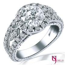 2 Carat E-VS1 Round Cut Diamond Engagement Ring Split Shank Vintage Design 14k  - $4,949.01