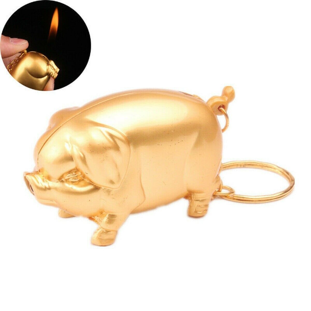 Gas Lighter Metal Gold Pig Model Inflated Butane Cigarette Fire Mini Creative