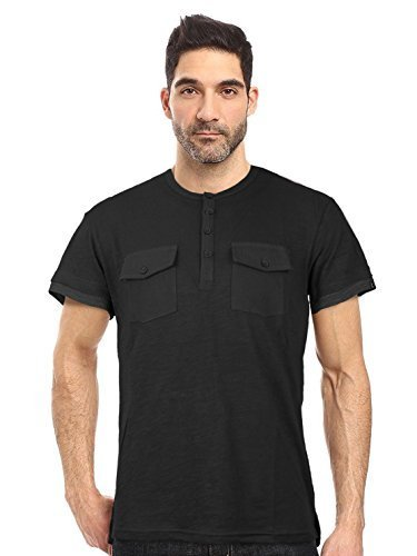 Seven Souls Men's Lightweight Slim Fit Henley Fashion T-Shirt (XL, Black)