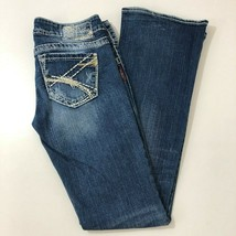 SILVER Tuesday Bootcut Distressed Denim Blue Jeans Womens 25x31 - $32.86