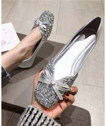 Women Sequin Sliver Wedding Shoes,Sequin Bridal Shoes,Silver Ballet flat... - $38.00