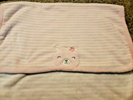 Carters Just One You Baby Blanket Pink White Stripes Teddy Bear Face Clo... - $29.68