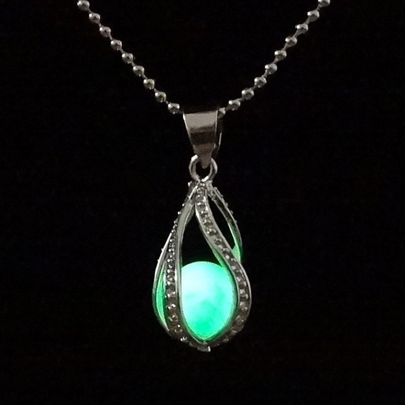 Vintage Mermaid Tears Shells Star Vial Necklace Shellhard Blue Sea Ocean Glass
