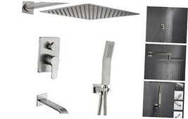 Bathtub Shower Faucet.Brushed Nickel Shower Faucets Sets Complete.10IN R... - $338.62
